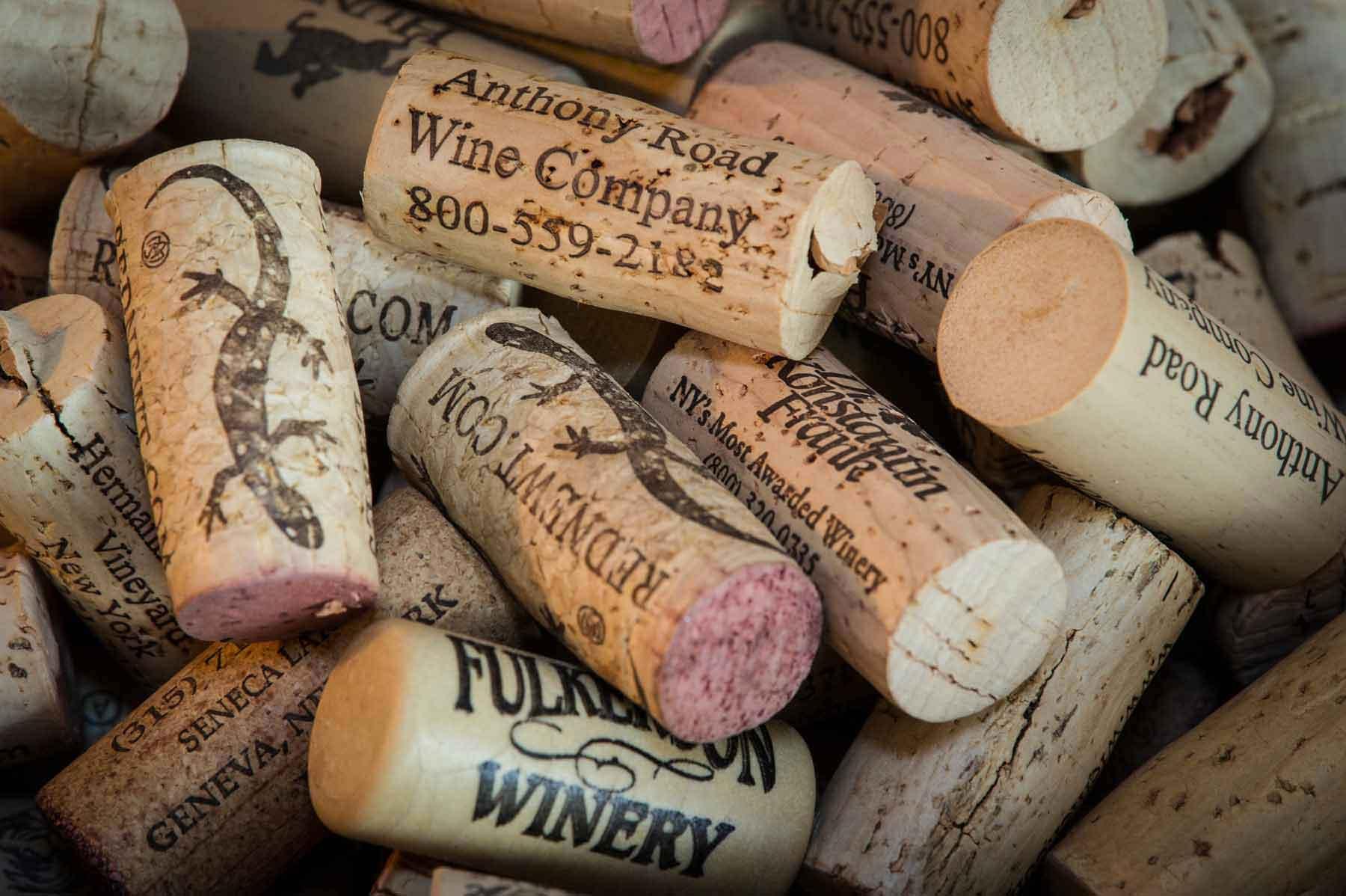 Sunrise Landing B&B Wine corks in a bunch